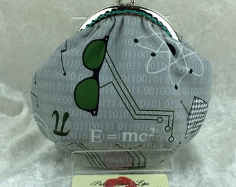 Science Equations Amy frame coin purse wallet hand stitched handmade in England
