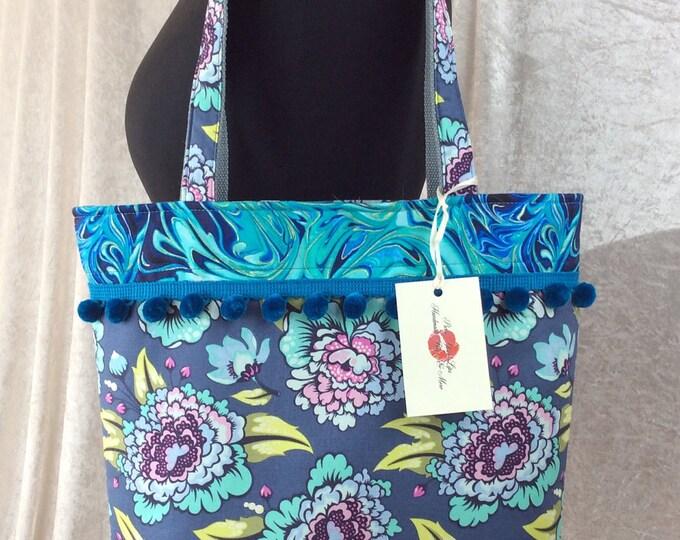 Flowers Pom Pom Shoulder Bag Day Bag Tote handbag purse Handmade in England