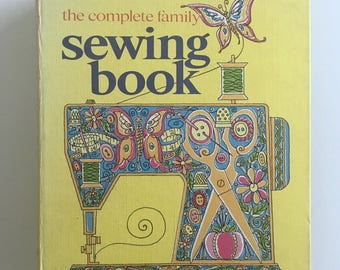 Family Sewing Book, Vintage Fabric Looseleaf Binder, 500 Pages of Sewing Instruction and Illustrations, Curtin Publications, 1970s