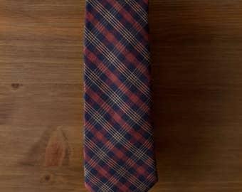men's necktie - navy rust gold cotton plaid
