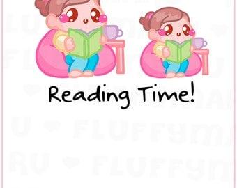Reading Time Sammie || Planner Stickers, Cute Stickers for Erin Condren (ECLP), Filofax, Kikki K, Etc. || SFS119