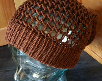 SALE!!--Brown Netted Baggy Beanie Hat