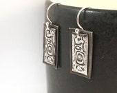 Handmade Sterling Retro Silver Earrings | Simple Bar Earrings with Retro Design | Oxidized Silver Bar Dangle Earrings Metal Clay Jewelry
