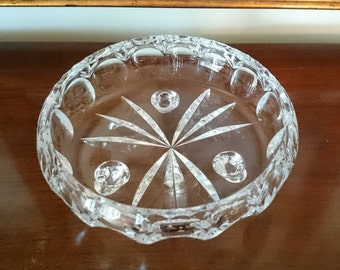 Stunning Lead Crystal Thumbprint Cut Glass Bowl/ Three Footed Bowl/ Three Toed Low Bowl/ Bohemian Style