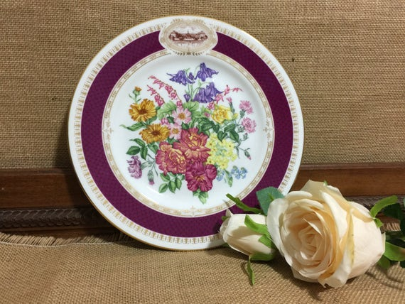 """RHS 1984 Chelsea Flower Show Fine Bone China Plate by MINTON - Chelsea Morning - 9"""" Decorative Plate - Vintage English Cabinet Plate"""