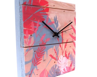 Clock made of recycled wood - pattern Jungle grey, pink and beige