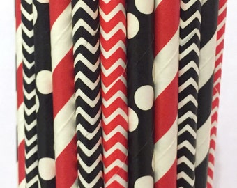 2.85 US Shipping -Atlanta Falcons Paper Straws - Red, Black and White Stripe - Cake Pop Sticks - Drinking Straws