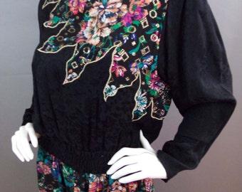 Sale Vintage Diane Fres silk blend floral dress with metallic thread