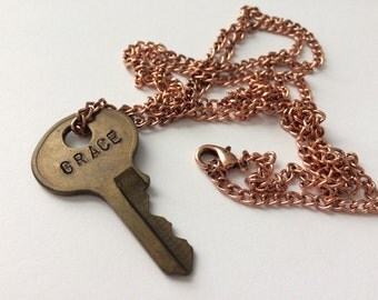 Customizable Stamped Key Necklace - GRACE