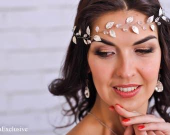 Wedding headpiece Bridal hairpiece Wedding hairpiece Silver hair vine leaf Bridal wreath Wedding halo Bridal headpiece Crystal hairpiece