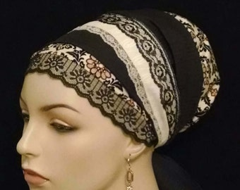 Exquisite lacy floral medallion Sinar tichel, tichels, apron tichels, head wraps, chemo scarves, mitpachat