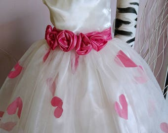 Off white tulle pink flower girl dress/ Wedding tulle dress kids bridesmaid tutu dress/ Toddler princess tutu pageant dress birthday party
