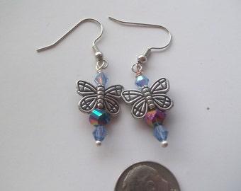 Multicolor Purple Dangle Butterfly Earrings