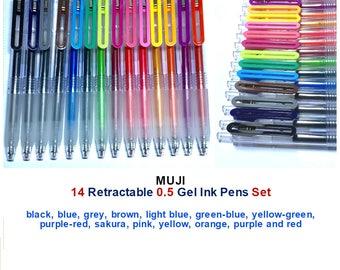 Set: 14 Retractable MUJI 0.5 Gel Ink Pens