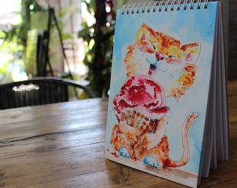 Custom Sketchbook for Kids - Sketch Pad - Writing Journal [Scribble Notebook] - Hand-Painted Art (Cute CAT) on Hardcover = Personalize Diary