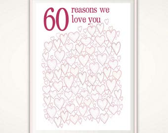 60th Birthday Gift - 60th Birthday Gifts for Women, Poster, Sign, PRINTABLE Party Decorations, 60 Years Old, 60 Years Loved, For Her, DIY