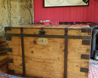ANTIQUE VICTORIAN MILITARY Naval Officer's Sea Chest Reclaimed Wood Furniture Storage Trunk Coffee Table Rustic Wooden Storage Chest
