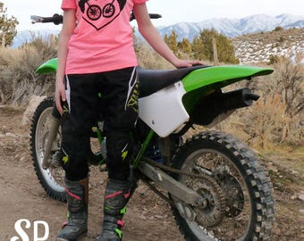 Womens Dirt Bike Motocross Love Neon V Neck