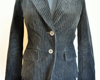 Vintage Womens Velvet Jacket / Smoking jacket / Blazer/ Suit / black / Evening / Medium / M / 38