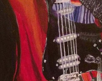 Original Acrylic Guitar Painting