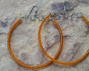 Beaded handmade simple stylish fashion wedding bridesmaid modern trendy elegant dance party prom spring summer orange silver hoop earrings
