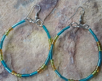 Hoop earrings light earrings elegant/stylish/simple/modern/trendy/minimalist/wedding/bridesmaid/beaded/handmade/gift mother/spring/earrings