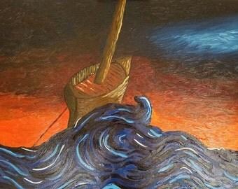 "ORIGINAL OIL - Anchored, 22 x 28"" Framed Painting"