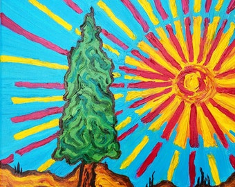 "Original Oil - ""Cypress with Sun, After Van Gogh"" 11 x 14"""