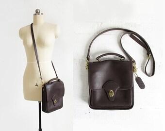 vintage leather saddle bag / minimal shoulder bag or crossbody purse / brown leather satchel
