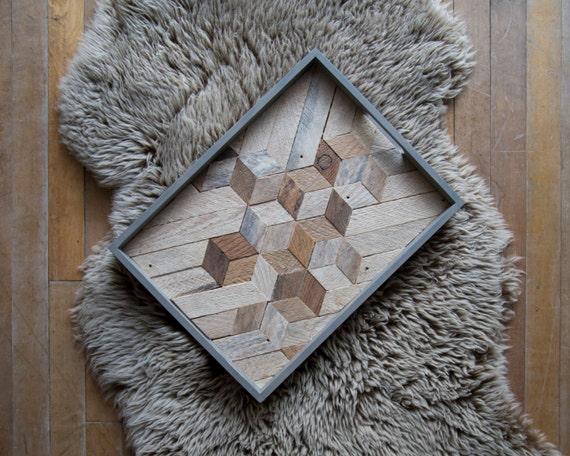 Wood Serving Tray | Wood Tray | Reclaimed Wood | Decorative Tray | Rustic Geometric | Table Tray | Cube with White | Blue Grey Tray | Cube