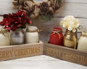 Merry Christmas, Christmas Decor, Rustic Christmas, Farmhouse Christmas, Mason Jar Decor, Rustic Christmas Decor,  Christmas Home Decor