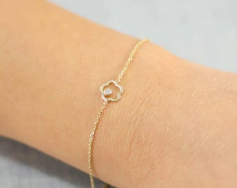 Flower Gold Bracelet, 14K Gold Bracelet, Flower Diamond Bracelet, Gold Diamond Bracelet, Dainty Gold Bracelet, Everyday Jewelry, GB0284