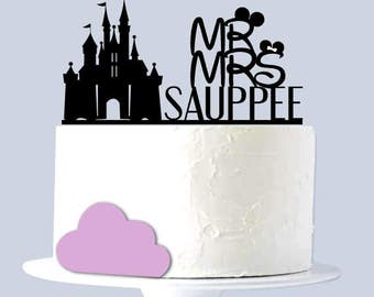 Disney Wedding Cake Topper, Mr and Mrs, Castle Cake Topper, Custom Last Name A990 17