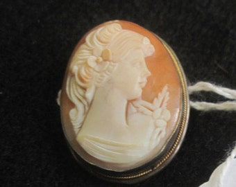 800 silver pin/pendant with a carved cameo on salmon colored background