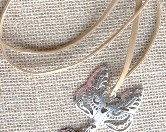 Boho Feathered Fox / Pendant Necklace / Silver / Suede Cord / 19""