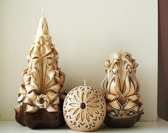 Carved candle set - carved candles 3 - peach beige brown - gift candles - handmade candles - a unique gift - candles