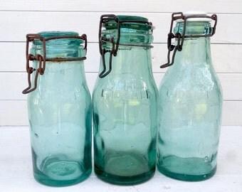 Aqua Glass Fruit Canning Jars, Set of 3 Vintage French l'Ideale Preserve Jars, Vintage Glass Farmhouse Wedding Decor Kilner Mason Jar