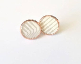 Rose Gold Computer Earrings - Eco-friendly Jewelry, Modern, Techie Geek Gift, Mother's Day, Computer Jewelry, Stud Earrings