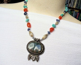 Vintage Jasper Sterling Silver Tribal Necklace, Dark Green Jasper Gemstone Pendant Sterling Chunky Bead Necklace, Southwestern Necklace
