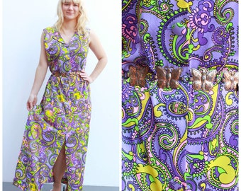 Vintage Psychedelic Maxi Dress / Retro Neon Paisley Pattern / Size 8-12