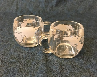 Vintage Glass Nestle Etched World Globe Mugs, Glass Map Coffee Cups, Promotional Glasses, Set of 2