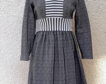Vintage Long Sleeved Monochrome Dress