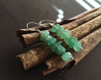 Green Aventurine Earrings, Green Aventurine and Sterling Silver Earrings