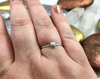 Hammered Nugget Ring, Nugget Ring, Fine Silver Ring, Stacking Ring, Solid Sterling Silver Ring, Hammered Silver Ring, Hammered Ring
