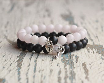 boyfriend girlfriend couple bracelet His Hers anniversary gift wedding couple matching black pink bracelets key lock love long distance wife