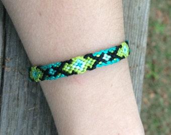 Green and Black Diamond Friendship Bracelet