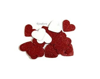 "100 Red Glitter heart confetti 1"", Table Scatters,  wedding confetti, Baby Shower table decor, Birthday, Engagement confetti, Bachelorette"