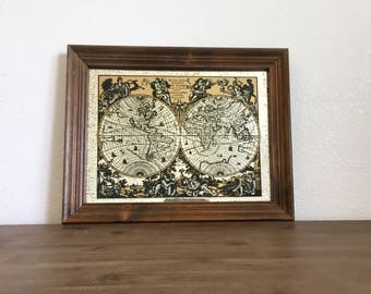 World map mirror etsy vintage map world globe map monde world map mirror wood framed map gumiabroncs Gallery