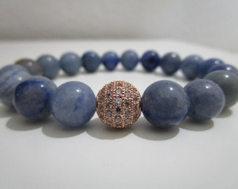 Blue Aventurine,Blue Aventurine bracelet,Gemstone bracelet,Micropave rose gold,Gift for women,Beaded bracelet,Women stone bracelet
