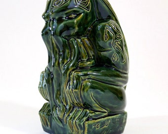 Cthulhu Tiki Mug - handmade - mottled green - limited edition